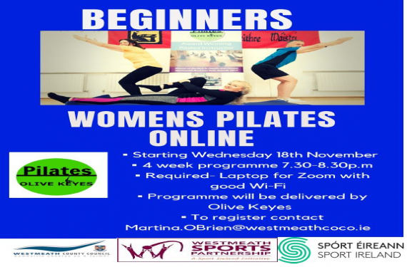 Beginners Women Pilates programme online via Zoom